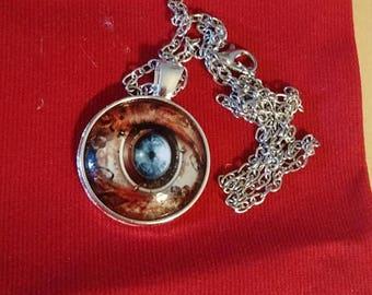 Retrocon Sale - Chain Necklace - Glass - Steampunk Eye