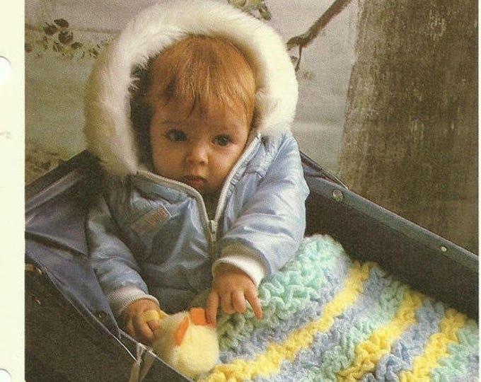Retrocon Sale - Ruffled baby blanket crochet pattern digital download