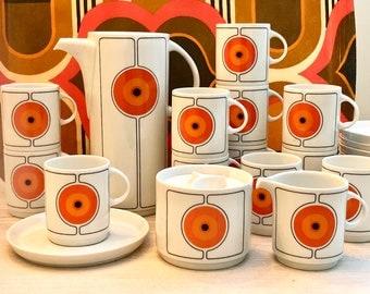 Rosenthal Thomas Eclipse coffee set for 12, 1970s porcelain coffee service, Hans Baumann op-art design porcelain
