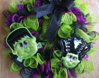 LARGE Padded Mr and Mrs Frankenstein Felties- Wreath - Halloween - 4 x 4 and 5 x 7 Included  - 2 Designs  - DIGITAL Embroidery Design