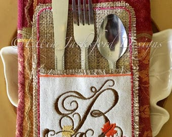 """Fall Monogram """"B""""- Silverware Holder -  SINGLE LETTER  ONLY - Thanksgiving - 4 x 4 and 5 x 7 - Digital Embroidery Design"""