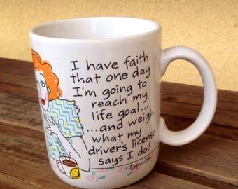 Denise Mug, Funny Mug, Shoebox GreetingsMug, Denise Mug 1986, Humorous Funny Mug, Driver's License Weight Mug, Joke Mug, Wight Joke Mug