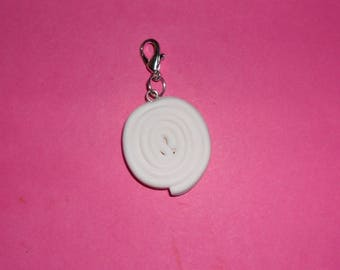"1 ""roll of white licorice"" Charms polymer clay 20mm"