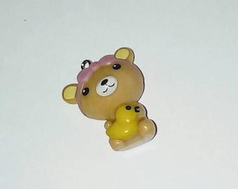 X 1 Teddy bear girl and her little kawaii 3D canrd