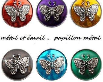 Snap bottom colored enamel and Butterfly metal central metal 18mm