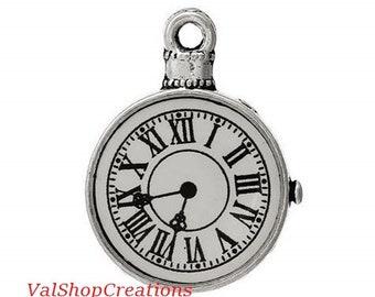 Silver clock 2 X 39mm Tibetan