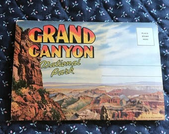 Vintage Grand Canyon Souvenir Postcard Booklet, 16 Amazing Pictures, Detailed Summary, Postally Unused, Free Shipping