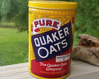 1991 Quaker Oats Round Tin Rolled White Oats