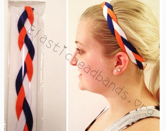 Fabulici Orange Navy Blue White Braided Headband Auburn Girls Softball Girl Baseball Women Headbands Non Slip Grip Soccer Volleyball