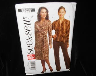 Misses Top See & Sew B5237 Womens Dress Pants Size Extra Small-Medium Wrap Front