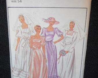 Misses Wedding Dress Butterick 3700 Womens Size 14 Bridal Bridesmaid Gown Petite Parsons School of Design