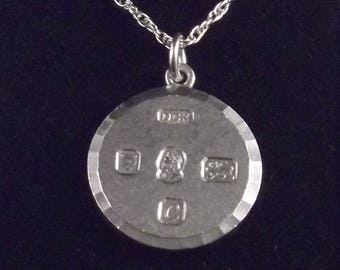 Heavy 1977 Silver Jubilee Sterling Silver Round Ingot and Chain