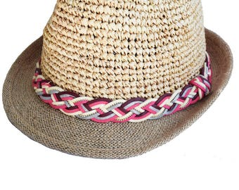 Burgundy straw hat, fuchsia, ivory and silver