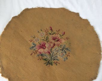 Vintage Needlepoint Stitched Fabric