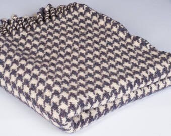100% Wool Houndstooth handwoven throw blanket heavyweight purple cream soft cozy