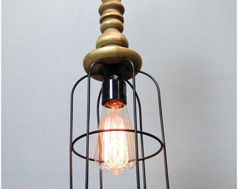 Industrial BIG Hanging Pendant Trouble Light Fixture w Wooden Handle for Restaurant or Home