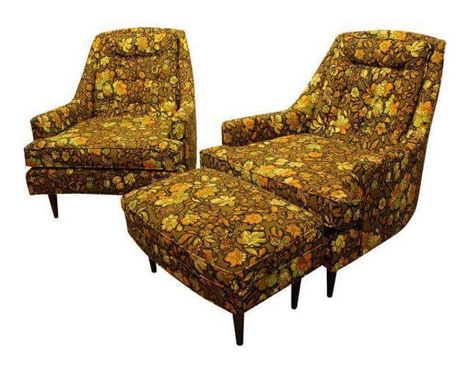 Mid-Century Danish Modern 3-Piece Groovy Lounge Chair & Ottoman Set