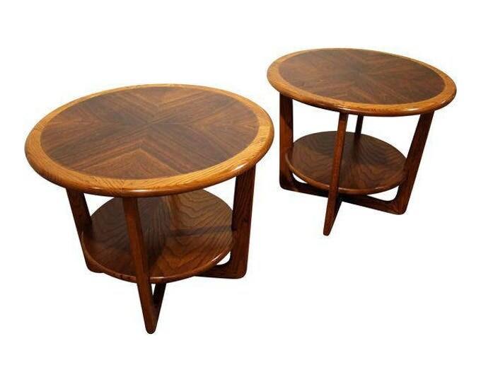 Mid-Century End Tables Danish Modern Lane Perception Walnut/Oak Round End Tables-Pair