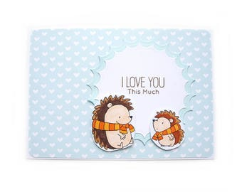 I love you this much, Hedgehog, card with envelope