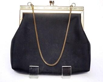 Vintage Purse,Black Evening Bag,Made in Hong Kong,Black Fabric Purse with Chain,Vintage Clutch,Small Handbag,Black Bag,Formal Evening Purse