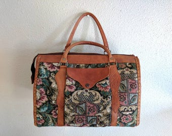 Gorgeous Vintage One of a Kind Handmade Leather Tapestry Purse