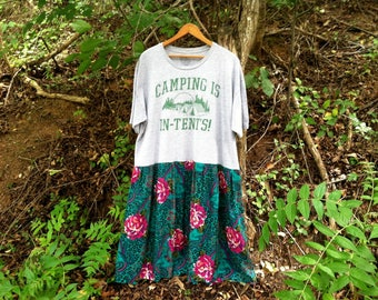 T-SHIRT DRESS Camping Is In-Tents! Floral Dress XL Gray & Teal ~ Upcycled Dress Recycled Dress Upcycled t-Shirt Beach Dress Hippie Dress