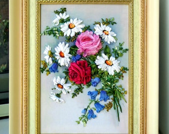 Silk ribbon embroidery Picture 3d  bouquet 30 х 20