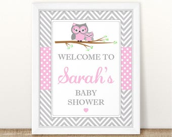 Printable Personalized Pink Owl Baby Shower Welcome Sign, Owl Printable  Grey Pink Baby Shower Welcome