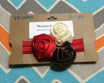 0-1 Year Old Sized Satin Roses Headband w/ Pearl Center (14 inches)