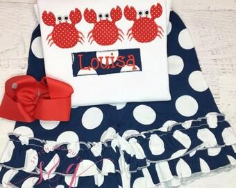 Crab shirt, Girls Crab Shirt, Girl's short set, Crab birthday shirt, beach birthday shirt, crab outfit crab personalized