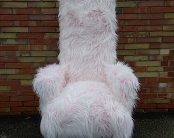Accent Chair - Pink Fur Chair - Tall Chair - High back Chair - Statement Piece - Home Decor Pink and Gold