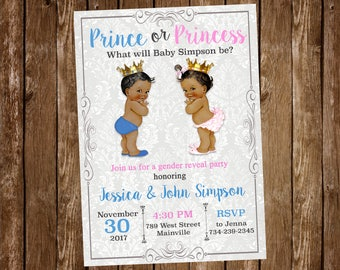 Prince or Princess, Boy, Girl, Prince, Princess, Gender Reveal, Baby Shower, Invitation - ANY SKIN TONE - Digital or Printed