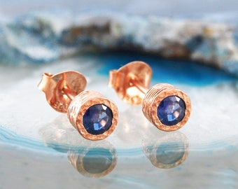 Sapphire Earrings, September Birthstone, Birthday Gifts, Gifts For Her, Rose Gold Earrings, Rose Gold Jewellery, Blue Gemstone, Gold Studs