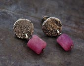 raw silver with raw ruby stud earrings • oxidized silver • gift for her • handmade earrings •  minimalist everyday • organic sterling