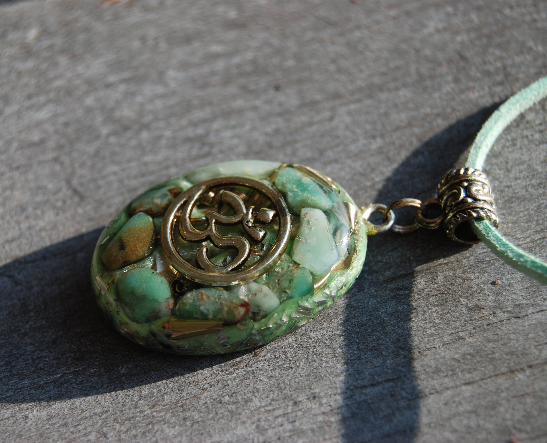 Orgonite aum orgone pendant necklace with chrysoprase oval unisex aloadofball Choice Image