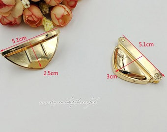 5 sets Thumb Catch Purse Lock 5.1cmx3.0cm Brushed Brass Silvery Light golden Triangle Purse Bag Lock.