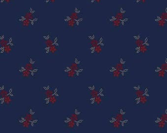 Red Floral, Navy Blue, R1740670150, Marcus Brothers, Star Spangled Liberty, Pam Buda, Reproduction (By YARD)~