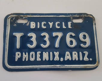 Vintage 1960's Phoenix, Arizona Bicycle License plate, nice condition bike license that is very collectible.