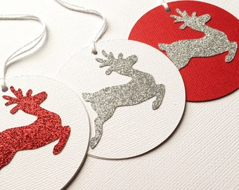 Silver Reindeer Christmas Gift Tags. Silver glitter red or white. Xmas gift wrapping. Wishing tree tag, gift giving. Glitter gift tags.