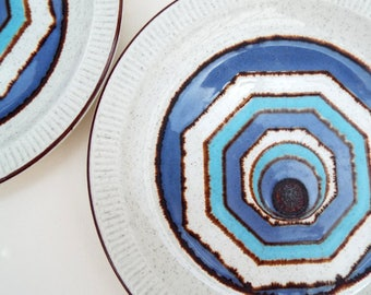 Poole Pottery Plates - Lagoon Blue Pattern, Two Retro Circle Plates, Abstract Tableware, Geometric Plates, Poole Parkstone Compact Design