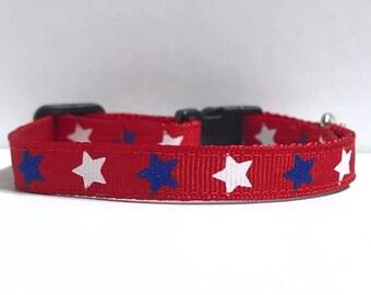 "3/8"" Blue & White Stars collar"