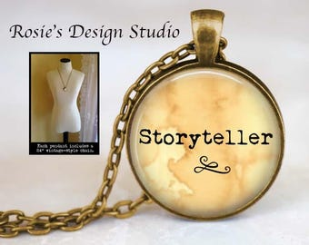 STORYTELLER Necklace - Gift for Writer - Writing Jewelry - Love to Write - Literary Jewelry - Editor Gift - Storytelling - Blogger Gift