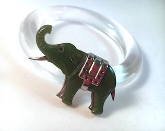 """Vintage Bakelite Brooch - Adorable Sage Green & Silver Elephant Novelty Pin 1 7/8"""""""