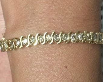 "14K Yellow Gold 3.5 CTW DIAMOND 7.5"" ""S"" Bar Tennis Bracelet 11.9 Grams!!"