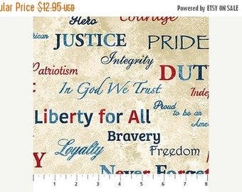 Summer Sale- Stonehenge Stars and Stripes Patriotic Words ~Cotton Fabric by Northcott~Fast Shipping N402