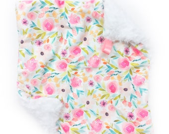 Floral Lovey. Baby Lovey. Baby Blanket. Floral Baby Blanket. Security Blanket. Mini Baby Blanket. Floral. Baby Shower Gift. Baby Gift.