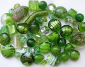 RESERVED FOR REBECCA - 54 Pc Mixed Green Beads | Olivine Green | Murano Style Glass | Lampwork Style Glass | Glass Beads