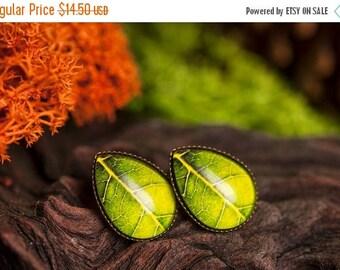 20% OFF Green leaf earrings, tree leaf earrings, tear drop earrings, stud earrings, antique brass earrings, glass dome earrings