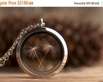 20% OFF Wish holder, dandelion seeds necklace, nature necklace, silver plated necklace, dandelion necklace, dandelion locket necklace, make