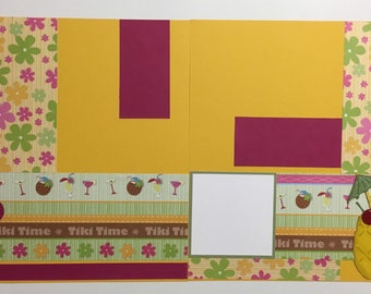 Premade Tropical Two Page 12x12 Scrapbook Layouts
